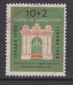 Germany Sc B332 used 1953 10 + 2pf Thurn & Taxis Palace Gate, F-VF