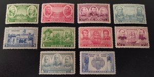 #785-794 - Complete Set 1936-37 Army/Navy Issue.  MNH, OG.  Free USPS Shipping
