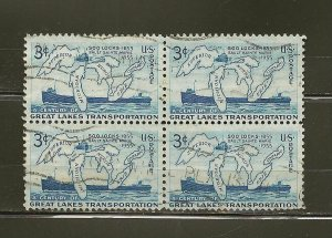 USA 1069 Great Lakes Block of 4 Used