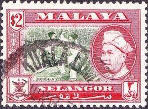 MALAYA SELANGOR 1957 $2 Bronze-Green & Scarlet SG126 Fine Used