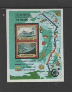 VIRGIN ISLANDS #557 1986 CABLE LAYING SHIPS MINT VF NH O.G S/S