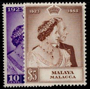 MALAYSIA - Malacca GVI SG1-2, ROYAL SILVER WEDDING set, NH MINT. Cat £35.