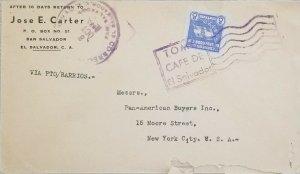 A) 1985, EL SALVADOR, NATIONAL FLAG, VIA PTO BARRIOS, SHIPPED TO NEW YORK, SLOGA