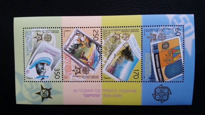 50th anniversary of EUROPA stamps - Macedonia 1x Bl ** MNH