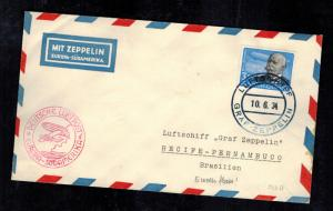 1934 Germany Graf Zeppelin Cover South America Flight to Brazil # C56 LZ 127