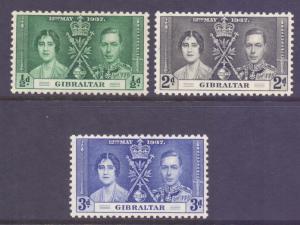 Gibraltar Scott 104/106 - SG118/120, 1937 Coronation Set MH*