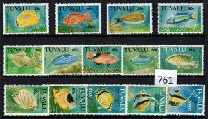 $1 World MNH Stamps (761), Tuvalu, fish, set of 14