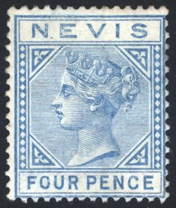 Nevis 1882 4d Blue WMK Crown CA SG 17 Scott 26 LMM/MLH Cat £350($455)