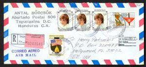 HONDURAS 2000 Reg Cover w PRINCESS DIANA LANDMINE CAMPAIGN Stamps to USA