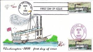 Pugh Designed/Painted 1816 Steamboat Washington FDC...18 of 200 created!