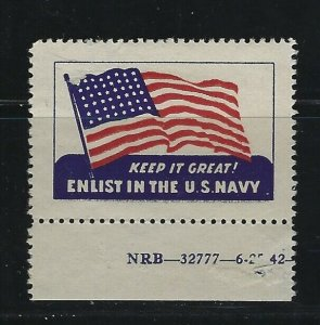 UNITED STATES - ENLIST IN THE US NAVY POSTER STAMP MNH