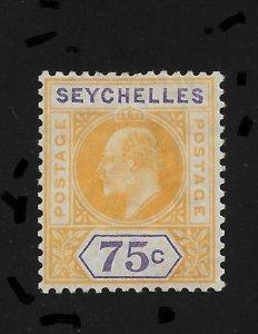Seychelles 1906, King Edward-VII, 75c,Scott # 60,VF Mint Hinged*OG