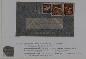 Chile/France/Netherlands airmail cover 24.7.39