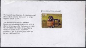 MINNESOTA #34 2010  STATE DUCK  STAMP WOOD DUCK