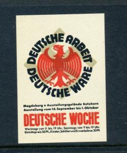DEUTSCHE WOCHE Arbeit Ware ADVERTISING Poster Stamp NAZI SWASTIKA (L140) GERMANY