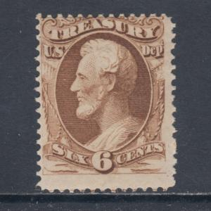 US Sc O75 MNH. 1873 6c Lincoln Treasury Official, Cert