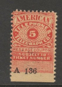 USA Telephone Stamp Coupon Cinderella revenue fiscal 9-18  telegraph exp 1925