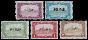 Fiume Scott 13-17 (1918) Mint H F-VF, CV $79.00 B