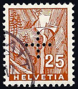 Switzerland 1935 Zum. D II 6, 25c perforated cross, not in Scott