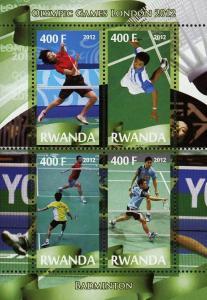 Rwanda Badminton Sport Olympic Games London 2012 Souvenir Sheet of 4 Stamps Mint