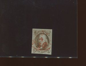 Scott 1 Franklin Imperf Used Stamp with PF Cert (Stock 1-PFC x)
