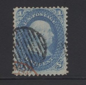 US Stamp Scott #63 USED 1c Franklin Blue (+$15 Red Cancel) SSCV $60