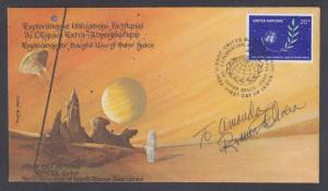 Ramon de Olivera, autographed UN 20c Space FDC bearing his art & calligraphy