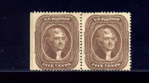 Scott 30A Jefferson Unused Pair of 2 Stamps with PF Cert (Stock 30A-pf)
