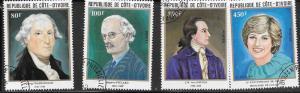 Ivory Coast #624-627 Famous People set complete   (U) CV $3.60