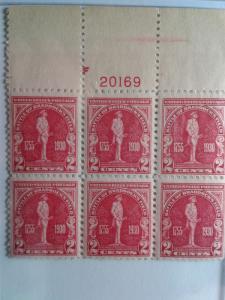 SCOTT # 688 PLATE BLOCK OF 6 GEM MINT NEVER HINGED BRADDOCK'S  ISSUE  1930