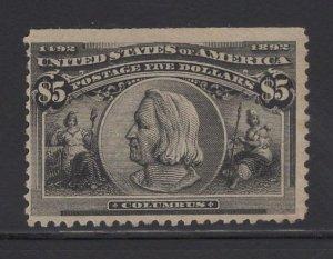 US Stamp Scott #245 $5 Columbian MINT NO GUM SCV $1150