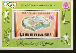 LIBERIA SOUVENIR SHEET #C192 Used - Olympic Games  Munich 1972 - FOS114