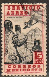 MEXICO C140, $5P 1934 Definitive. Admiring Flight. Used. F-VF. (804)