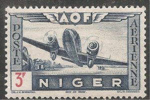Niger Air Post Stamp - Scott #C9/CD88 3fr Multi OG Mint/LH 1942