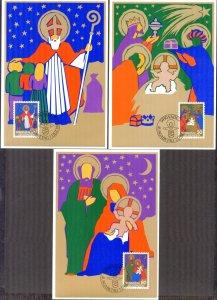 Liechtenstein 1981 Christmas 3 Maxi Cards FDC