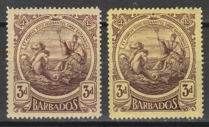 BARBADOS 1916 KGV SEAHORSES 3D BOTH SHADES