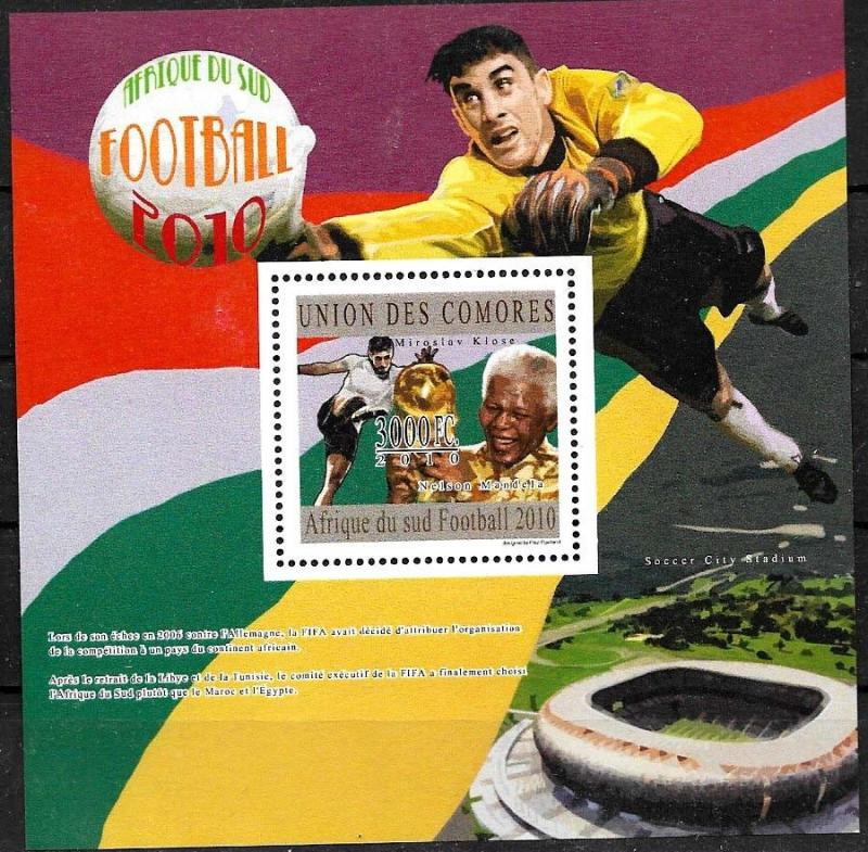 COMORES 2010 FOOTBALL SOCCER WORLD CUP SOUTHAFRIKA 2010 MS+S/S YV 2029+BL277 MNH