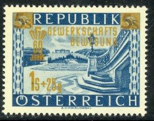 AUSTRIA 1953 LABOR UNIONS Anniversary Semi Postal Sc B280 MNH