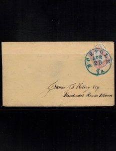 Scott 64b Fine on cover. SCV - $180.00