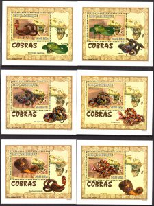 {137} Mozambique 2007 Snakes Cobra 6 S/S Deluxe MNH**