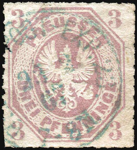Prussia Germany Sc 14  Four Margin Blue Cancel  VF