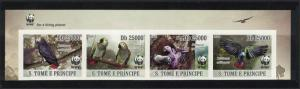 Sao Tome Birds WWF Grey Parrot Strip of 4 imperforated stamps WWF Logo