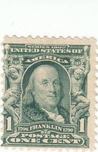 Scott #300 - 1c Blue Green - Franklin - MNH