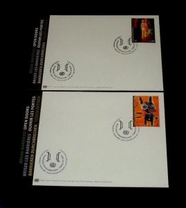 U.N. 2013, VIENNA #532-533, DISABLED ARTISTS, SINGLES ON FDCs, NICE! LQQK!