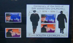 South Georgia 1974 Winston Churchill set & Miniature Sheet MNH
