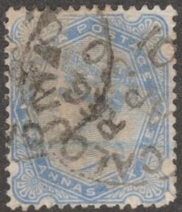 India stamp, Scott# 59, used, Two Annas, six pies, blue, #M085