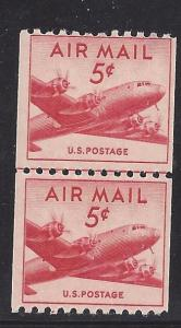 C37 Air Mail CLP Coil line pair 5cent DC 4 Skymaster