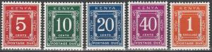 Kenya #J1b-J3b, J5b, J7b  MNH F-VF CV $8.75 (V199)