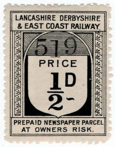 (I.B) Lancashire Derbyshire & East Coast Railway : Newspaper Parcel ½d