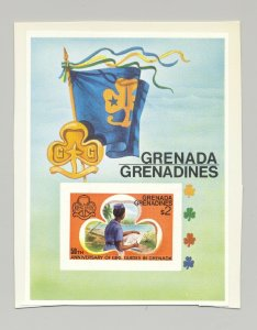 Grenada Grenadines #166 Scouts, Girl Guides 1v S/S Imperf Proof on Card